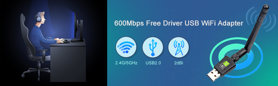 600Mbps Free Driver USB WiFi Adapter