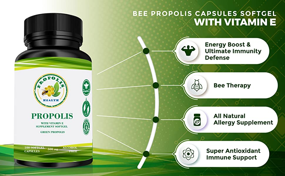 propoli Abeja royal Jelly bee therapy Bee Propolis Capsules Softgel with Vitamin E  natural alergy