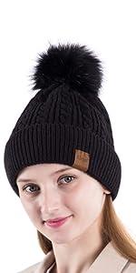 knit cap with pompom
