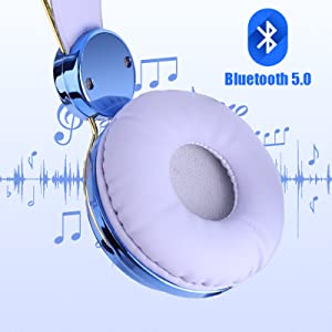 Kids Headphones Wireless POM POM Bear Ear Bluetooth Headset w/Mic Over On Ear Headset for Girlsb