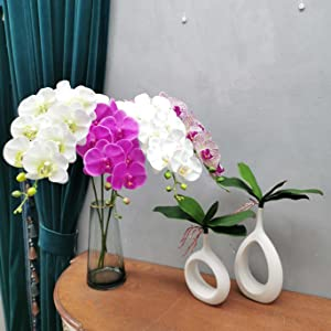Rosado 1, 45cm ENCOFT Flores Artificiales Pl/ástico Flor de Phalaenopsis Realista Orqu/ídea Mariposa con Maceta Imitaci/ón Cer/ámica Decoraci/ón