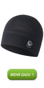 Gorro de lana merino compatible con casco, gorro de ciclismo, gorro de esquí, gorro deportivo para correr