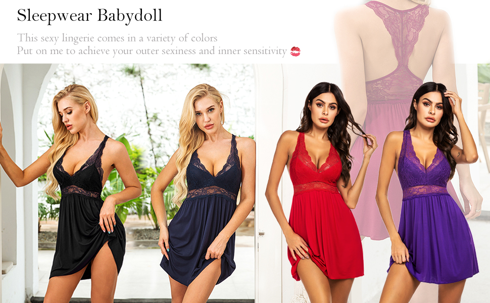 Ekouaer Women Lingerie Lace Strap Chemise Babydoll Nightgown V Neck Sleepwear
