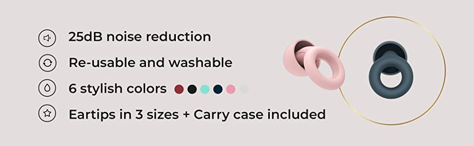 25db Noise reduction, Re-usable and washable, 6 stylish Colors, eartips in 3 sizes + carry case