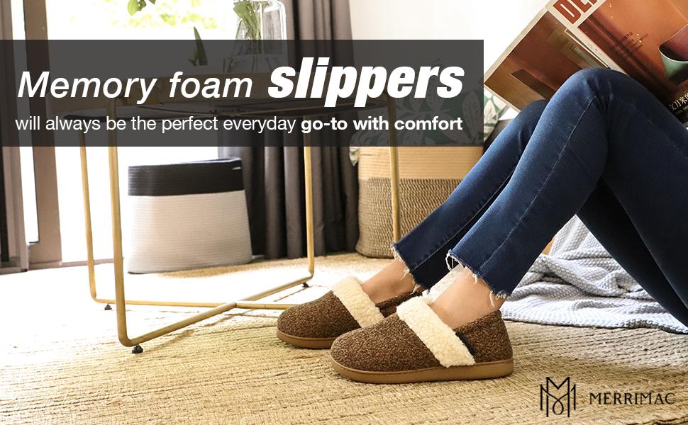 1-MERRIMAC Women's Hearth Fuzzy Memory Foam Closed Back Slipper Anti-Skid Breathable House Shoes