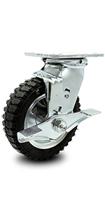 Service Caster, series 100, heavy duty caster, pneumatic wheel, top lock brake, total lock brake