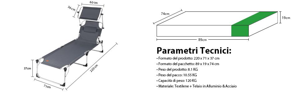 Sekey Lettino Prendisole da Giardino in Alluminio con Tettuccio Pieghevole 220 x 71 x 37 cm Grigio Chiaro