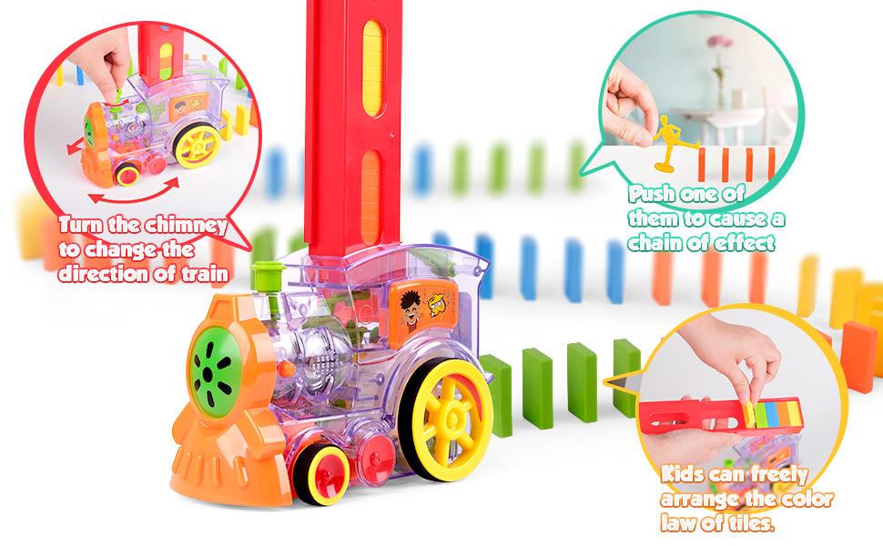Kids train musical domino toy set
