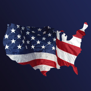 Map of America with flag
