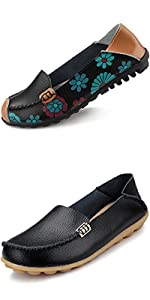 womens loafers, flats shoes,Floral Print Flats Casual Driving Loafers Walking Shoes for Women