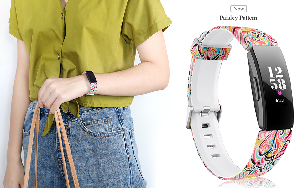 girl wearing the paisley pattern band for Fitbit Inspire
