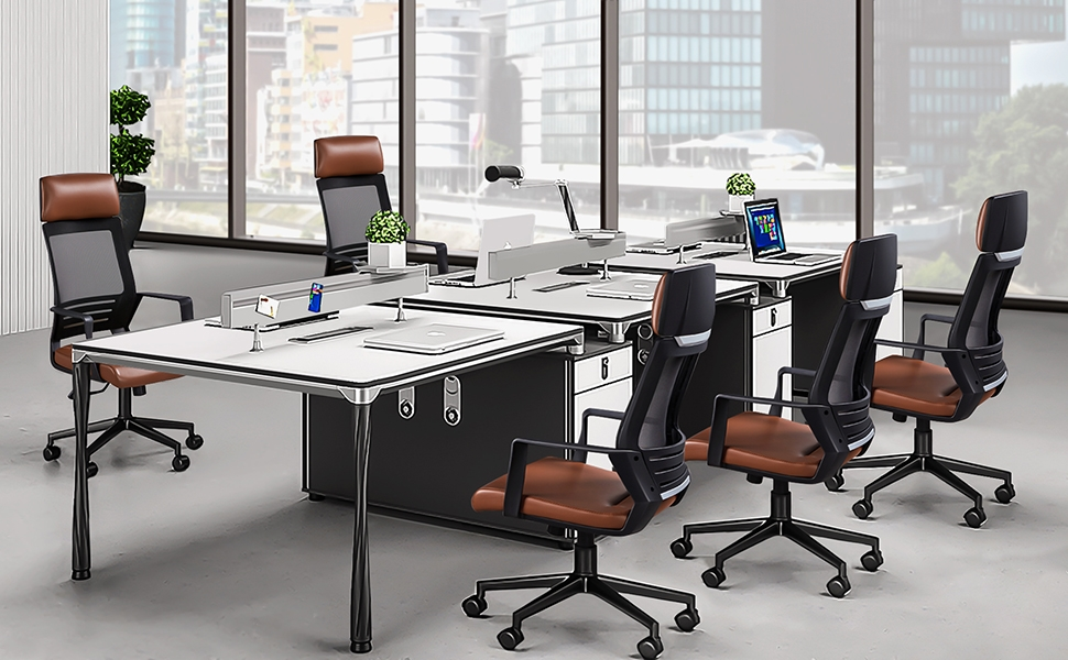8  YAHEETECH Ergonomic Mesh Office Chair with Leather Seat, High Back Task Chair with Headrest, Rolling Caster for Meeting Room, Home Brown 04137a7e d622 4d85 a407 d9cff707b5ed