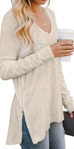 PrinStory Women's Causal V-Neck Soft Long Sleeves Tops Basic T-Shirt Split Blouse with Side Zipper