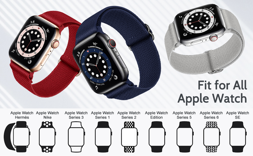 SIRUIBO Elastic Adjustable Nylon Apple Watch Bands Compatible with Series 6/5/4/3/2/1 SE