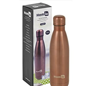 homiu water bottle double insulated drinks flask hot or cold