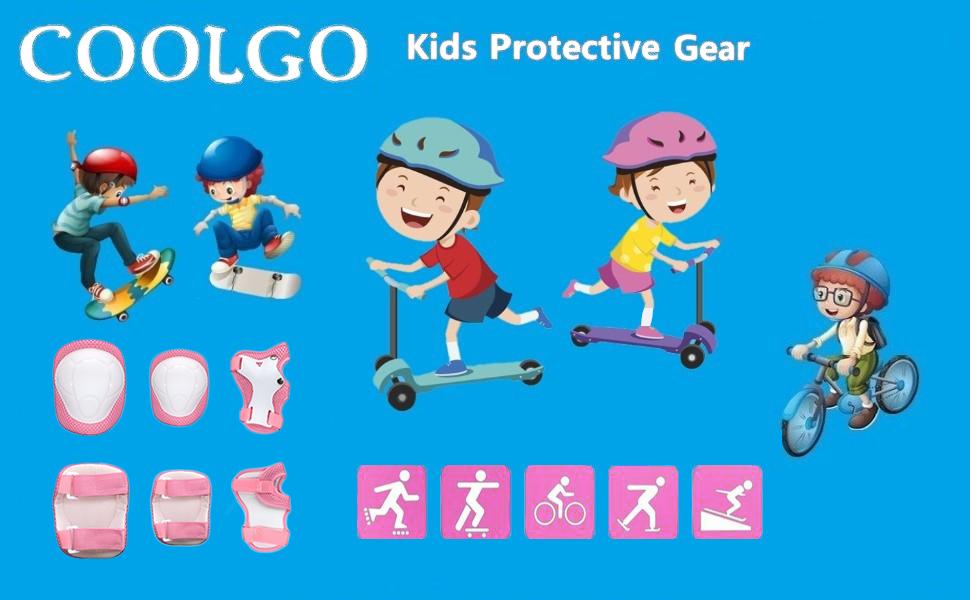 V/élo Patin /à Glace Roller Support Pad pour BMX COOLGOEU Kit de Protection Roller Enfant Skateboard Coudi/ère Genouill/ère Prot/ège Poignet Enfant Genouill/ères + Coudi/ères + Prot/ège-Poignets