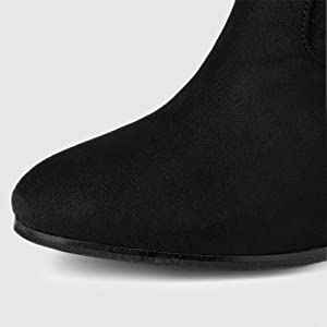 Allegra K Women's Rounded Toe Chunky Heel Over The Knee High Boots