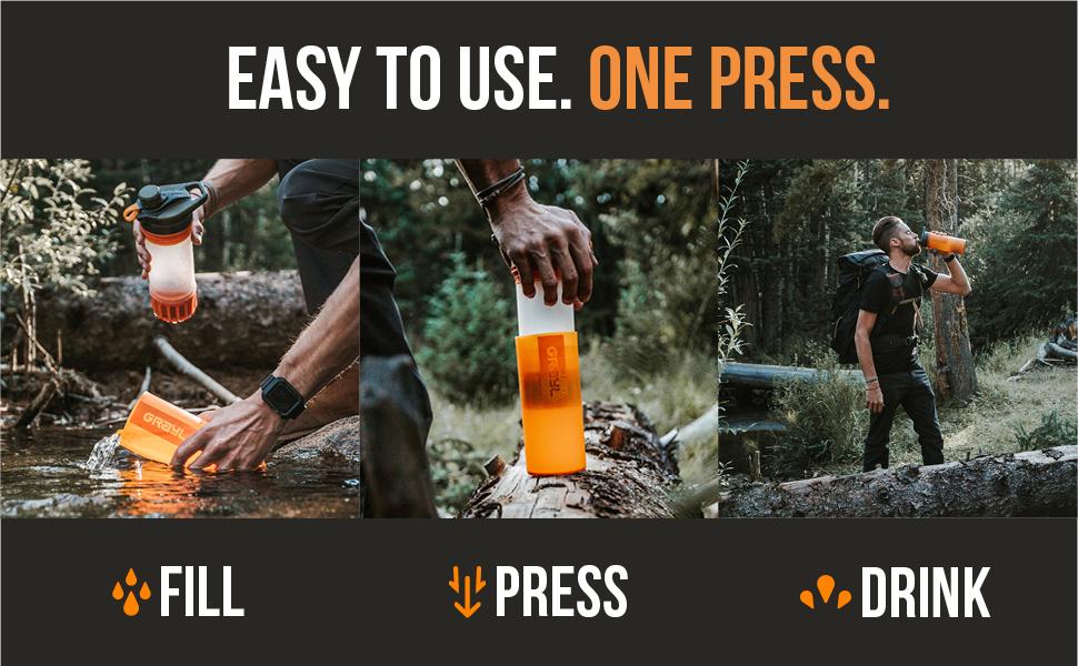 GeoPress Water Purifier Filter Bottle Fill Press Drink