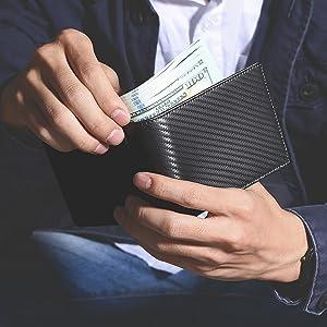 leather wallet for men bifold slim RFID blocking