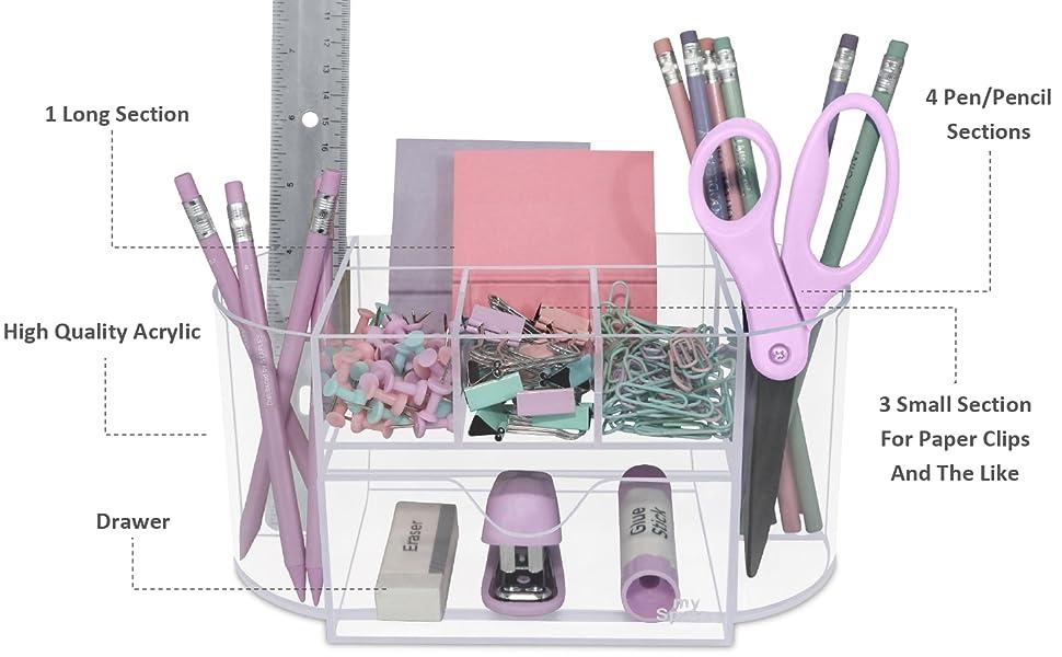 Acrylic Clear Desk Organizer Features