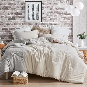 Stylish Stripe Cream Gray Bed Style Extra Long Large Oversized Comforter Bedding Fluffy Plush Warm