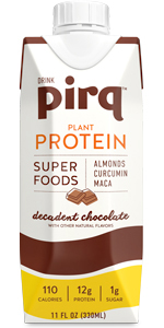 decadent chocolate, pirq, plant protein, vegan, keto, superfoods, curcumin, low carb, plant protein