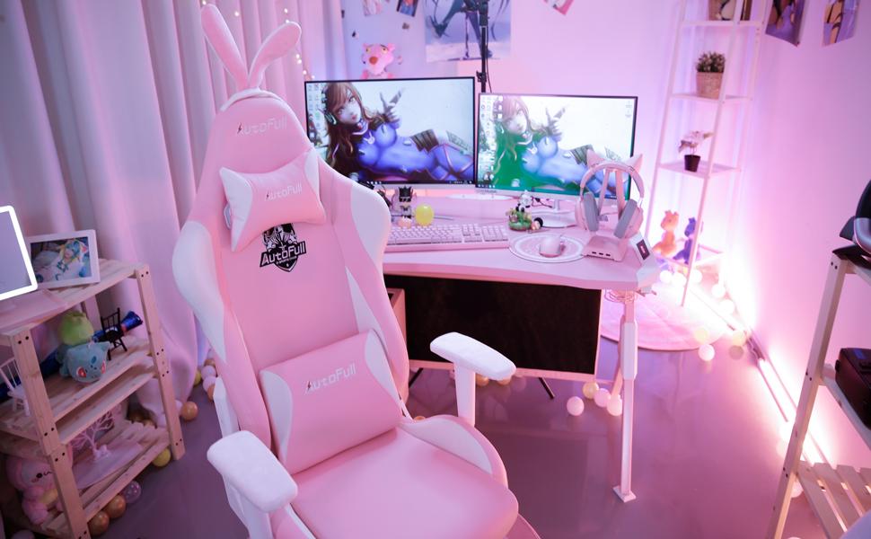 3 Anni di Garanzia AutoFull Rosa Sedia Gaming Ergonomica Kawaii Sedie da Ufficio con Orecchie di Coniglio,Altezza Regolabile e Supporto Lombare