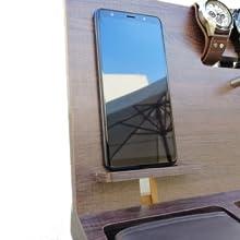Gift for men, Wooden Desk and Nightstand Organizer, Phone Docking Station, Key Holder, Wallet Stand
