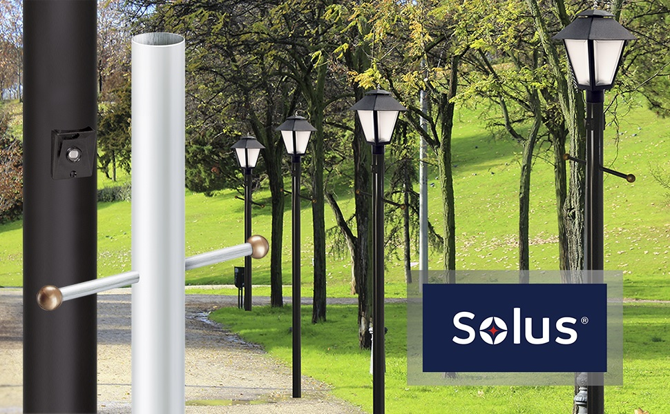 Amazon Com Solus Sp7 C320 Wh 7 Foot Outdoor Lamp Post Traditional In Ground Light Pole With Cross Arm Grounded Convenience Outlet And Dusk To Dawn Photo Sensor White Home Improvement