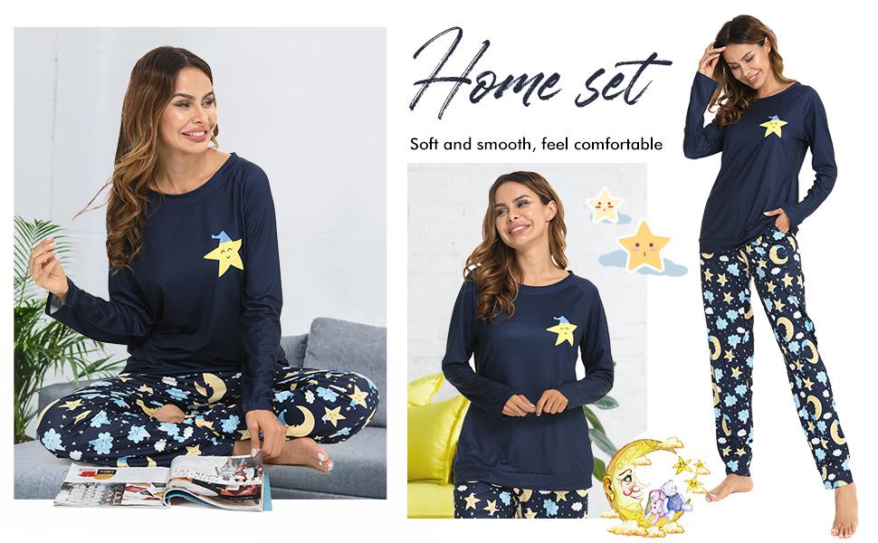 women long tee and pants pajamas set pjs sets loungewear women star pattern bottom lounge nightgowns