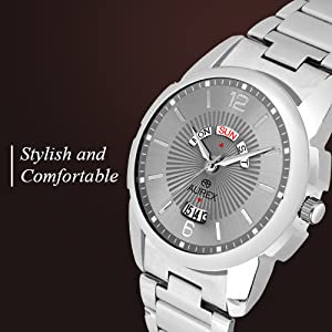 Aurex Grey Dial Round Shaped Day & Date StainlessSteel Bracelet Watch SPN-FOR1P Prime Day Submission
