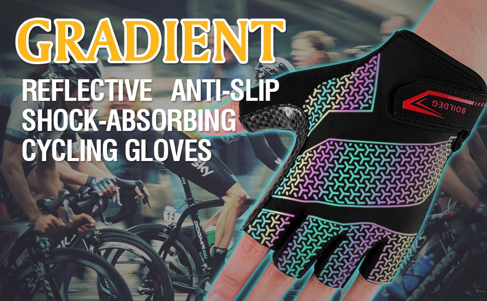 boildeg Fahrradhandschuhe Radsporthandschuhe Gradient rutschfeste und Stoßdämpfende
