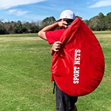 pop up nets folded up and put in carry bag