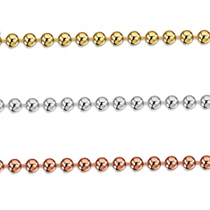 """Amberta 925 Sterling Silver 2 mm Ball Chain Necklace 16"""" 18"""" 20"""" 22"""" 24"""" in"""