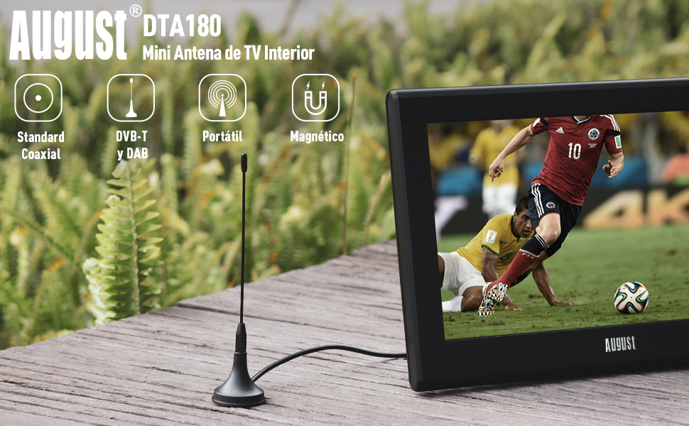 August DTA180 Antena TDT (Televisión Digital Terrestre) – Antena Portátil Interior/Exterior para Receptor TDT USB / Televisión DVB-T / Radio DAB – con ...