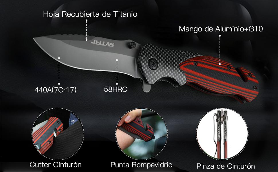 Jellas Cuchillo Plegable Supervivencia, Navaja Táctica con Punta Rompevidrio y Cutter Cinturón, 7Cr17 Acero Inoxidable con Hoja Recubierta de Titanio, ...