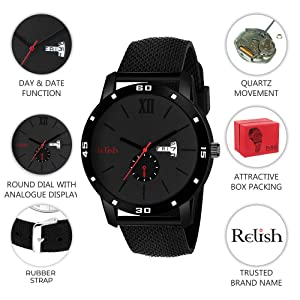 Relish Black Collection Day Date Display Wrist Watch Mens