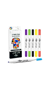 Permanent Fabric Markers Material Pens Dual Nib Pack of 12 Stationery Island