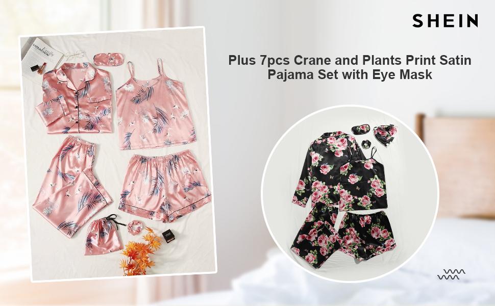 SheIn Women's Plus 7pcs Crane and Plants Print Satin Pajama Set with Eye Mask