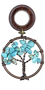 Handmade Turquoise Tree of Life Wood Dangle Ear Gauges Piercing Flesh Tunnels Plugs Stretching Kit
