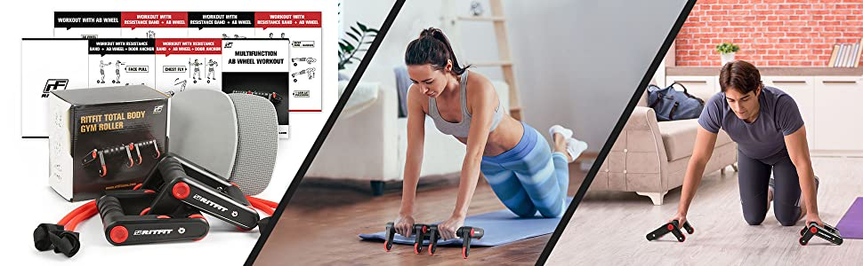 Home Fitness Equipment Kit for Gym Exercise Muscle Strength Abdominal Roller Wheel+8 Shape Resistance Band+Resistance Loop Band+ Jump Rope Pack Roeam Ab Wheel Roller Kit Home Gym Fitness Set