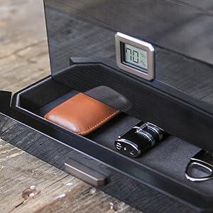 black paint finish cedar Spanish wood metal hardware outdoor glass top 100 cigars storage