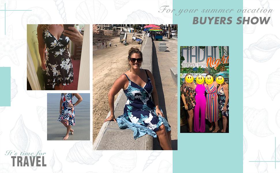 Women's Summer Dress Floral V Neck Spaghetti Strap Ruffle Wrap Party Sundress