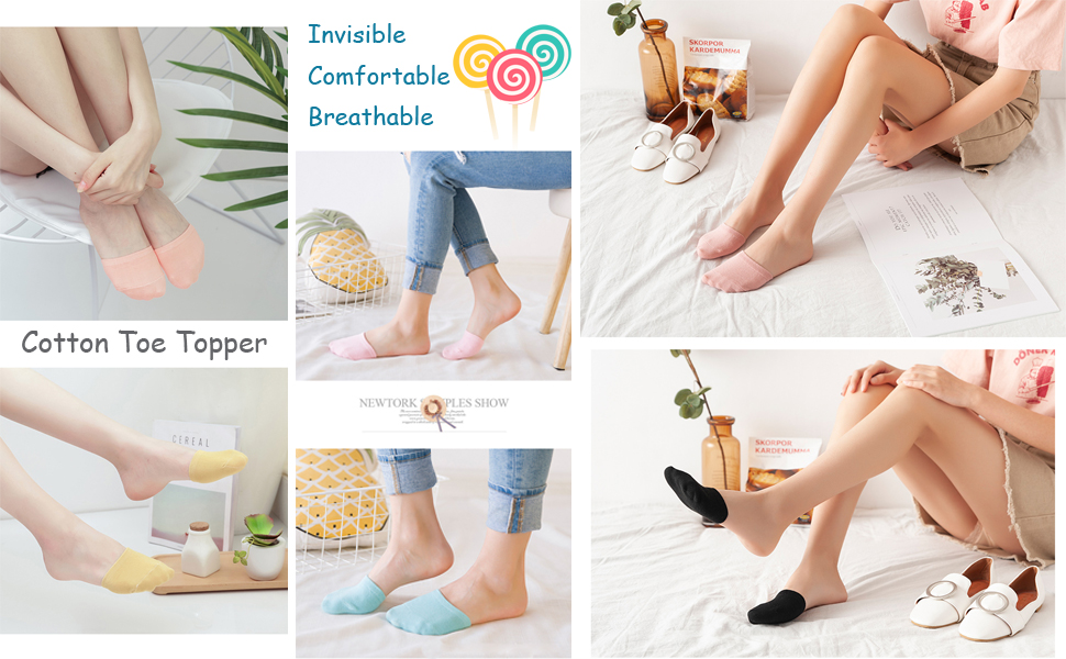 Vraquir 5 Pairs Womens Toe Cover Half Socks No Show Invisible Socks Cotton Toe Topper Liner