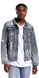 Mens Denim Jacket Ripped Slim Jean Jacket Coat for Men Vintage Jackets