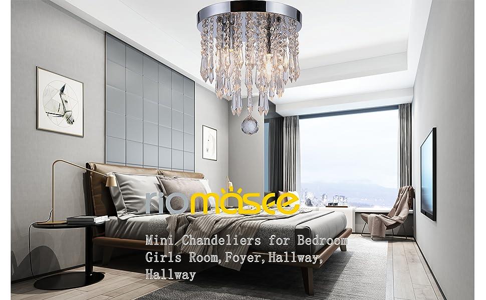 Riomasee Mini Chandelier Flush Mount Crystal Ceiling Light 2 Lights Crystal  Light Fixtures for Bedroom,Bathroom,Girls Room,Cloakroom
