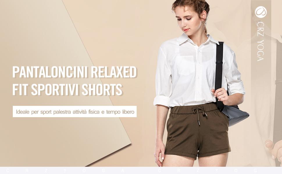 CRZ YOGA Donna Pantaloncini Relaxed Fit Sportivi Shorts da Corsa con Tasche-6cm