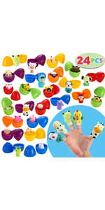 24 Pcs Prefilled Easter Eggs with Animal Finger Puppets