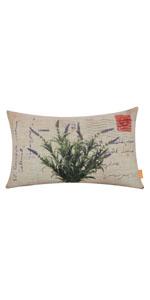 "LINKWELL 18""x11"" Vintage Lavender Burlap Pillow Cover"