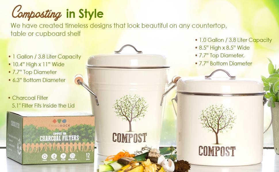 compost bin kitchen countertop counter top bucket charcoal filter